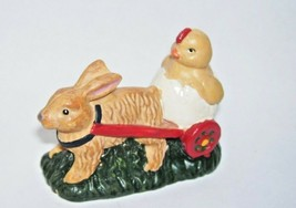 Easter Figurine Rabbit Pulling Chick in Egg Russ Berrie and Company - $14.30