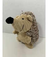 Moonbacks small plush dog toy squeaker hedgehog brown tan ribbed face tu... - $4.94