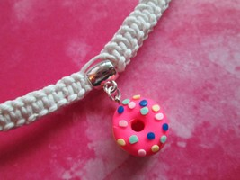Handmade White Hemp Necklace with Awesome Pink Sprinkled Doughnut Charm ... - $10.00
