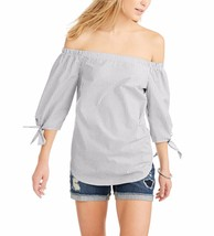 Faded Glory Women's Off The Shoulder Tie Sleeve Top Gray Stripe Size 2XL (20) - $16.82