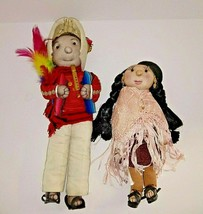 "Native American Dolls Pair Male Female Handmade 14"" & 11"" - $79.08"