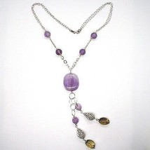 Collar Plata 925 ,Amatista Redondo y Rectangular,Cuarzo Humo Ovalados,Colgante image 2