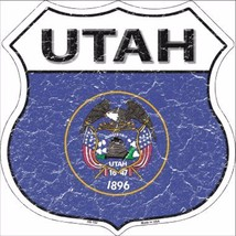 "Utah State Flag Distressed 11"" x 11"" Novelty Highway Shield Metal Sign - $9.95"