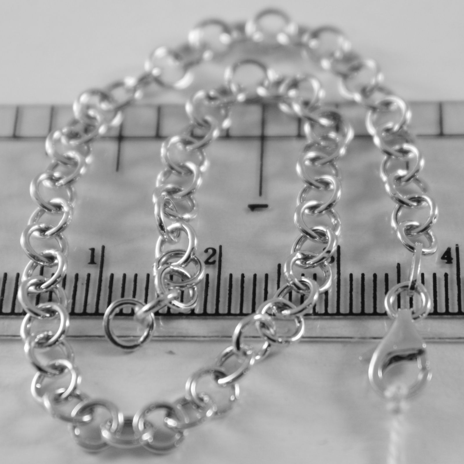 SOLID 18K WHITE GOLD BRACELET WITH ROUND CIRCLE ROLO MESH, 4 MM MADE IN ITALY