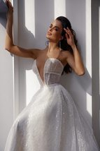 Glitter Shiny Lace Sexy Illusion Deep V-neck Sleeveless A-line Beach Bridal Gown image 4