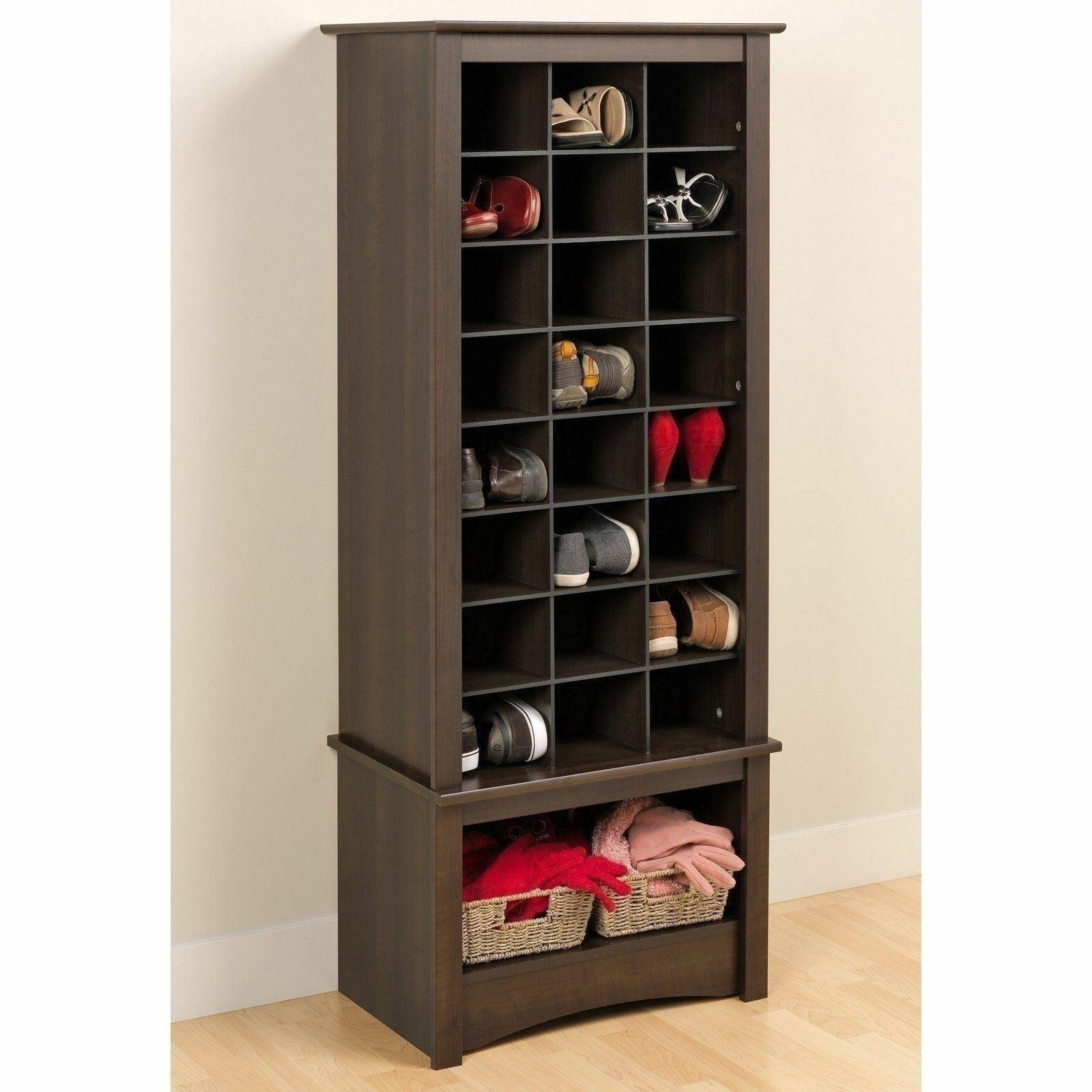 Espresso Finish Tall Shoe Cabinet Wooden Storage Cubbie
