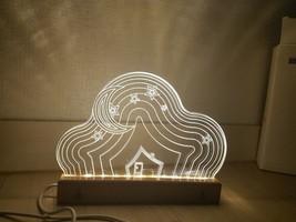 Mooas USB Wired Acryl LED Cloud Night Mood Lights Lighting Lamp Indoor Interior image 2
