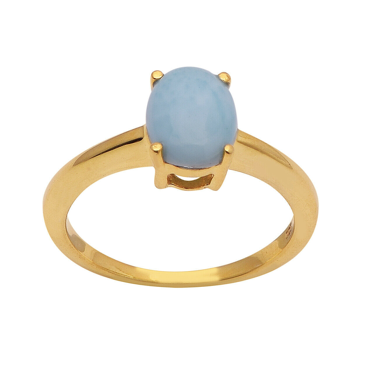 9 x 7 MM Oval Larimar 925 Sterling Silver Yellow Rhodium Plating Solitaire Ring