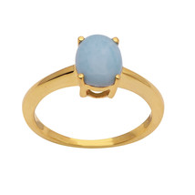 9 x 7 MM Oval Larimar 925 Sterling Silver Yellow Rhodium Plating Solitai... - $14.89