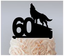 60th Birthday Anniversary Cake topper,Cupcake topper,silhouette wolf : 11 pcs - $20.00