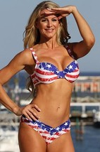 Ujena Womens Bikini Swimsuit American Calypso Goddess Red White Blue W252 - $124.99