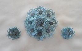 Vintage Set Light Blue Enamel Rhinestone Flower Brooch Earring Lacey Unsigned - $13.99