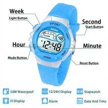 Kids Digital Watch,Boys Girls Sports Outdoor LED 50M5ATM Waterproof Multi Functi