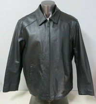 Mens Croft & Barrow Leather Jacket Black Size XL Polyester Lined Full Zip - $59.39
