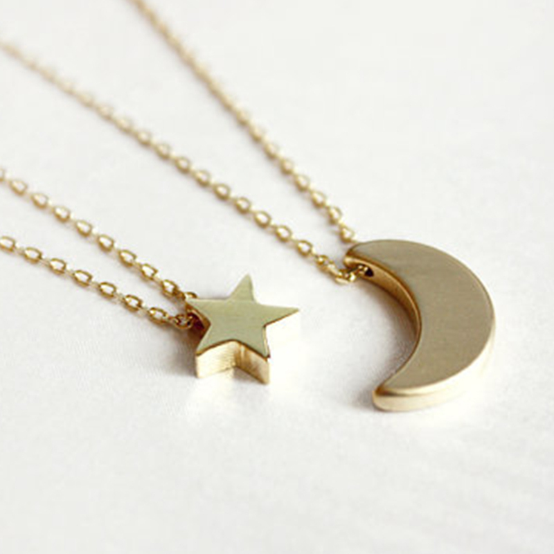 Layered of 2 set moon star pendent women statement simple moon necklace xl139 20