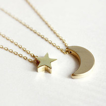 Layered of 2 Set Moon Star Pendent Women Statement Simple Moon Necklace ... - $9.99