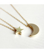 Layered of 2 Set Moon Star Pendent Women Statement Simple Moon Necklace ... - €8,45 EUR