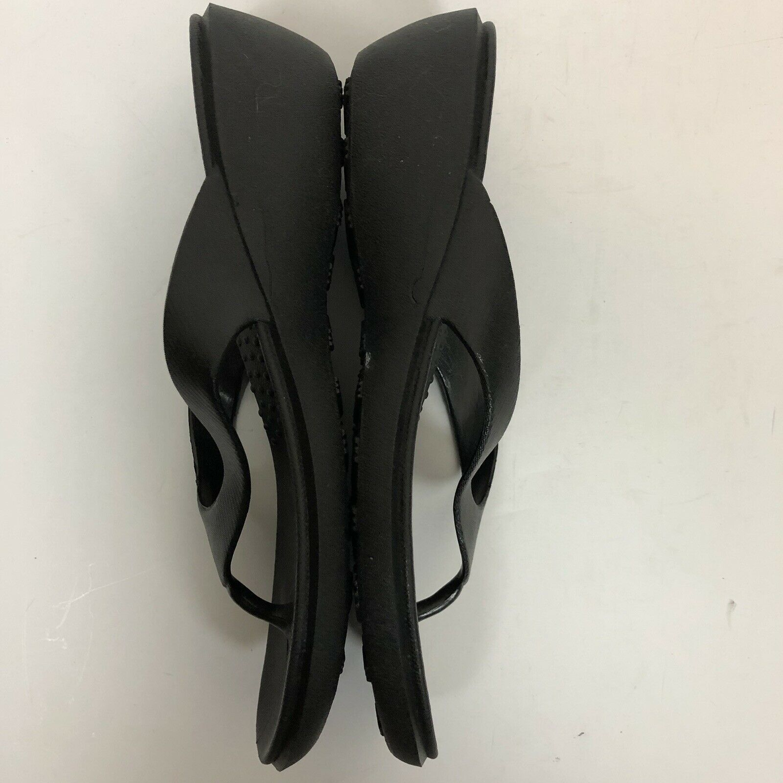 Okabashi Black Flip Flop Sandals Thong Black Wedge Women's Size ML