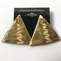 Vintage Enamel Triangle Earrings Glitter Green Gold Tone Swirl Funky NOS... - $7.87