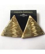 Vintage Enamel Triangle Earrings Glitter Green Gold Tone Swirl Funky NOS... - $7.87