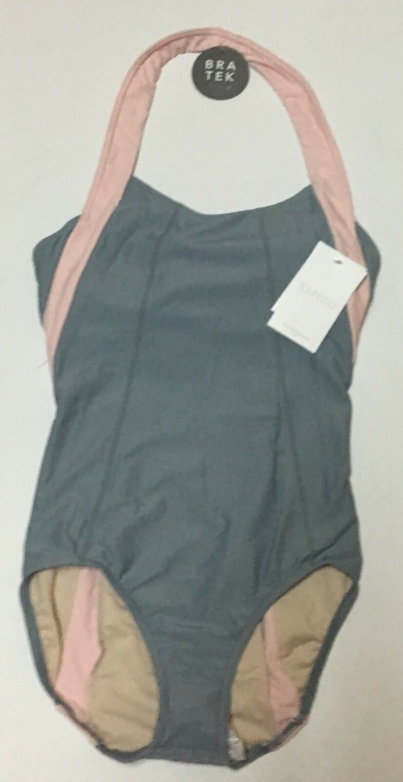 Capezio Bra Tek Dancewear Leotard Various Sizes Gray & Pink NWT image 2
