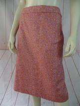 Talbots Skirt 12 Pink White Orange Floral Circle Cotton Spandex Stretch New - $38.61
