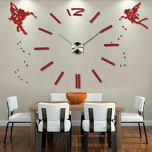 3D DIY Modern Large Wall Clock Angels Oversized Stylish Acrylic Home Dec... - $35.80