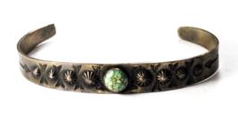 Antique Sterling Silver Harvey Era 1930's Turquoise Split Cuff Bracelet ... - $69.29