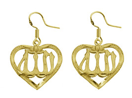 24K Yellow Gold Plated Earrings Allah Heart Love Islam Muslim Islamic Je... - $34.04