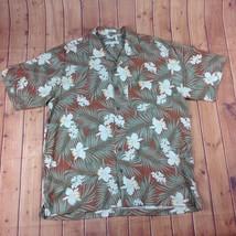 Geoffrey Beene Tropical Floral Orange Button Up Hawaiian Shirt 100% Silk... - $14.95