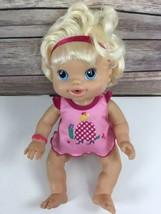 Baby Alive Doll 2010 Hasbro Wet N Wiggle Interactive Blonde Pink Headband - $28.01