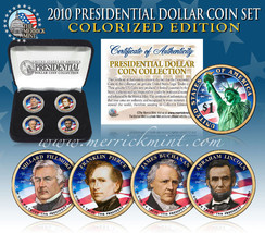 2010 USA MINT COLORIZED PRESIDENTIAL $1 DOLLAR 4 Coin Set Gift Box Certi... - $20.58