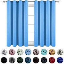 KEQIAOSUOCAI 63 Inch Blue Curtains for Boys Bedroom Noise Reducing Thermal Insul