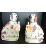 Hard to Find Pair of Antique Staffordshire Spaniel Dogs With Smaller Gir... - $617.49