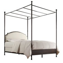 Transitional Modern Metal Canopy Bed Frame with Beige Upholstery Headboa... - $437.01