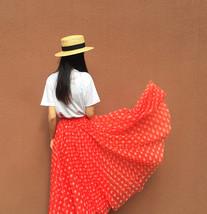 Women Polka Dot Skirt High Waisted Full Circle Tulle Skirt Polka Dot Party Skirt image 2