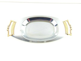 """Kromex Serving Plate With Brass Handles 14"""" x 6 3/4"""" - $24.74"""