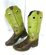 ARIAT Boots Ranchero 10014122 Youth Sz 3 Brown/Lime Green Cross Camo Squ... - $44.95