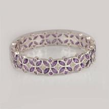 17.6 Ct. Amethyst Bangle Bracelet Solid 925 Silver Sterling Diamond Pave... - $411.84