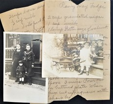 LOT antique HANDWRITTEN RECIPE PHOTOS dauphin pa SAUDER child wagon - $68.95