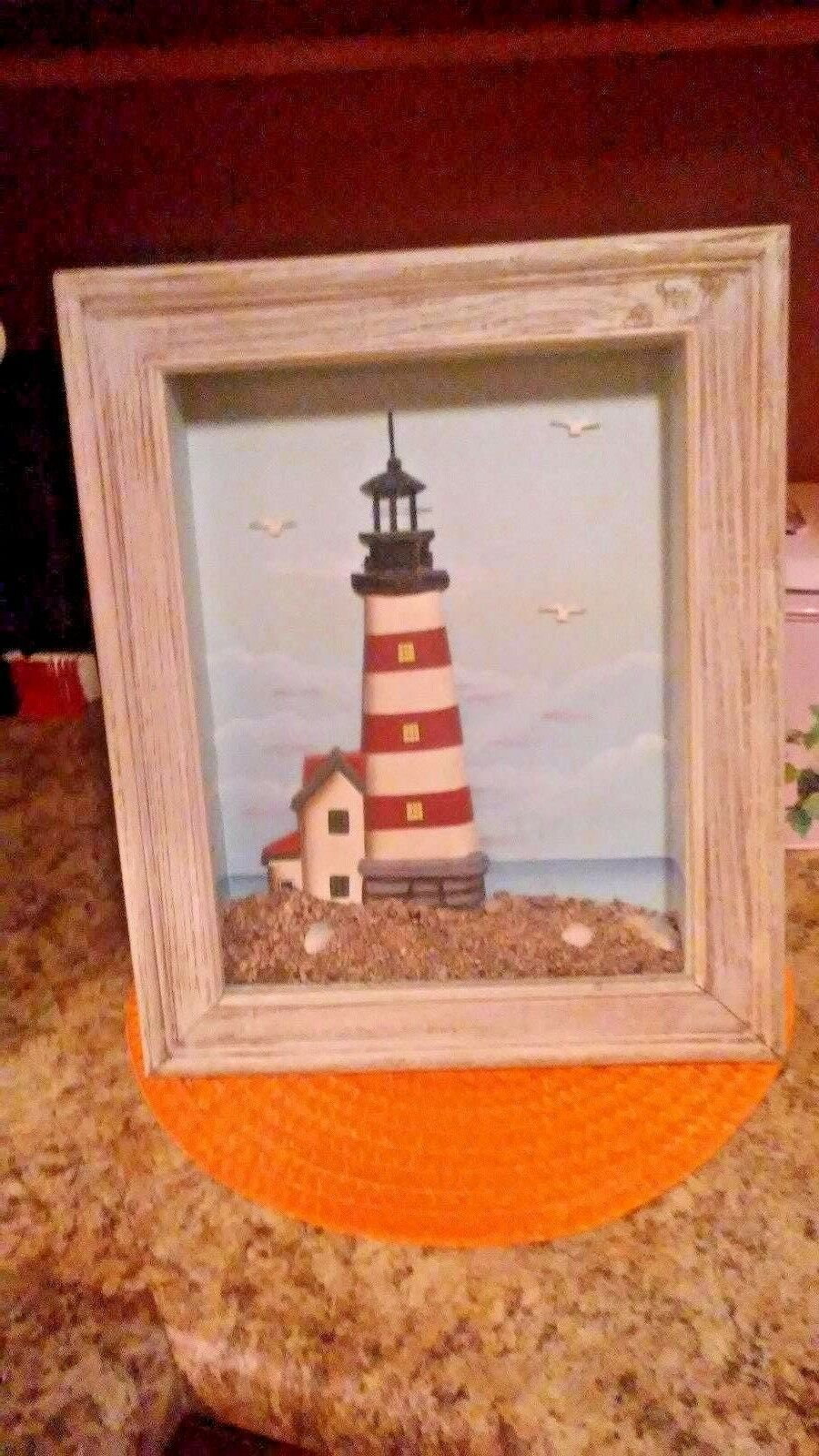 Primary image for 3-D Lighthouse nautical ocean shadow box Beach House Seafood Restaurant Decor