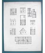 ARCHITECTURE PRINT 1869 - MODEL HOUSES at Paris 1867 Expo Plans Facades - $16.20