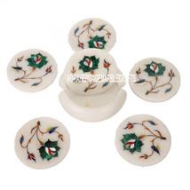 White Marble Tea Coaster Set Malachite Stone Inlay Floral Work Home Decor Gifts - $193.79