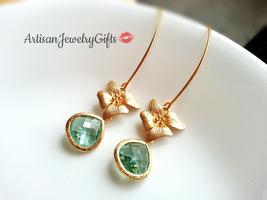 Gold Orchid Aqua Gemstone Earrings Matte Gold Orchid Earrings Aqua Gem E... - $48.00