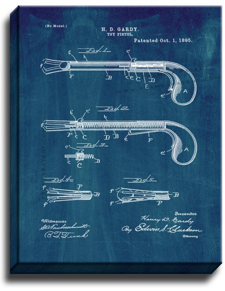 Primary image for Toy Pistol Patent Print Midnight Blue on Canvas