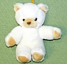 "9"" Vintage NANCO Teddy Bear White Tan Plush Stuffed Made in KOREA Hanging Loop  - $18.70"