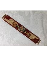 Bracelet Cuff Medium Handmade Bead Embroidery Earth Tones Natural Agate ... - $90.00