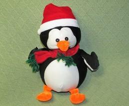 "12"" Christmas Penguin Microbead Plush Stuffed Animal Red Santa Hat Scarf Goffa - $19.80"