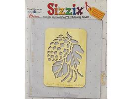 Sizzix-Simple Impressions-Embossing Folder, Pine Cone with Leaves #38-9563