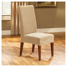 NEW Sure Fit Stretch Pinpoint Short Dining Room Chair, Cream / Light Beige - $14.99